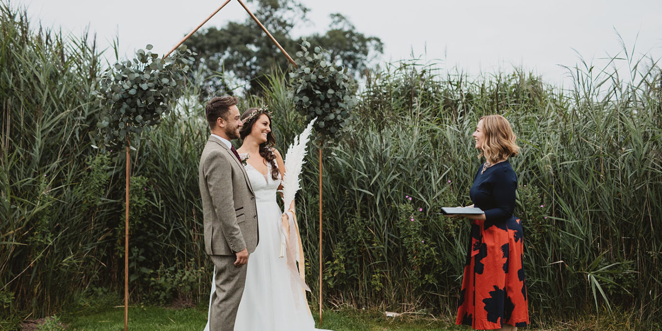 Couple being married by celebrant at Cheshire View