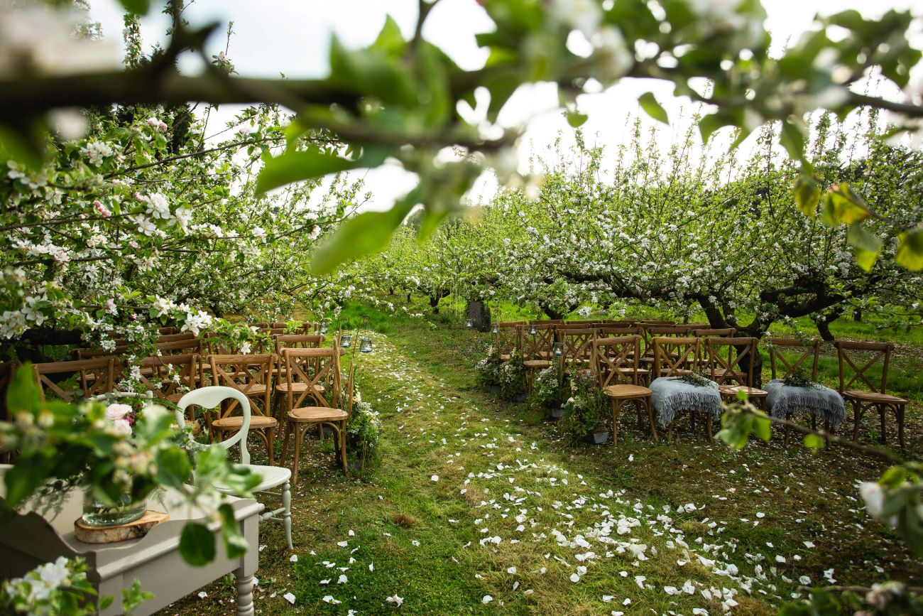 Outdoor ceremony at Duddon Mill Farm in Cheshire