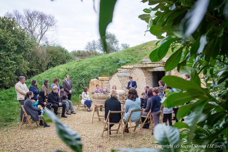 Outdoor funeral ceremony Willow Barrel Sacred Stones