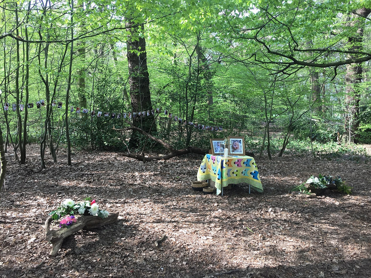 Table in a woodland clearing at an outdoor funeral